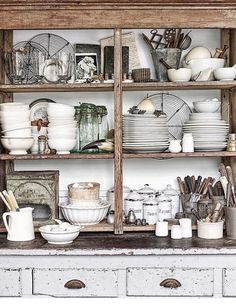 Pretty rustic cabinet full of thrifted and vintage treasure!