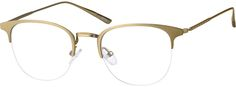 Order online, unisex gold half rim stainless steel browline eyeglass frames model #327314. Visit Zenni Optical today to browse our collection of glasses and sunglasses.