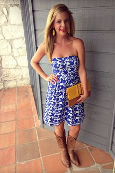 Printed Old Navy Strapless Dress & Cowgirl Boots