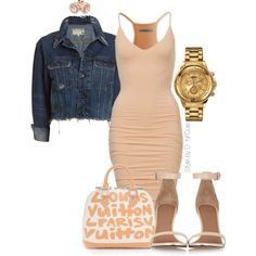 Fitted Dress & Cropped Denim Jacket