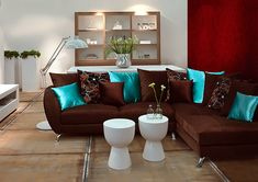 Interior decoration chocolate coffee - Decoration and Fashion Living Room Turquoise, Teal Living Rooms, Living Room Colors, New Living Room, Living Room Interior, Living Room Designs, Living Room Furniture, Living Room Decor, Brown Sofa Decor