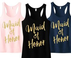 Maid of Honor Script Tank Top with Gold Glitter - Pick Color