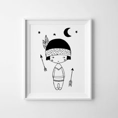 Little Indian Boy black and white art, Nursery decor, Scandinavian print, printable wall art arrows print, monochrome art, nursery poster.  - High