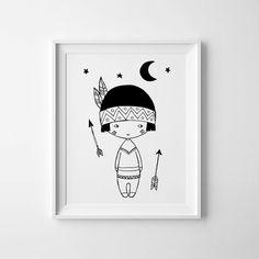 Little Indian Boy black and white art, Nursery decor, Scandinavian print…