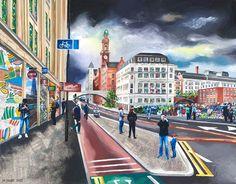 Manchester Art Prints - Oxford Road - Unique Art from Manchester Artists Manchester Art, Unique Art, Fine Art Prints, Oxford, Street View, Landscape, City, Illustration, Artwork