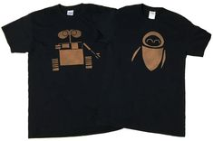 Disney Wall-e and Eve Couples Bleached T-shirt by DanasJumble