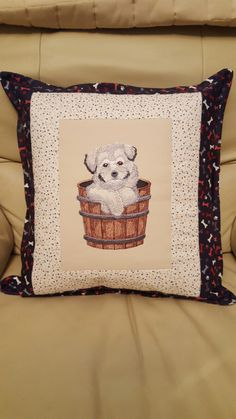 Machine Embroidered puppy in a tub cushion