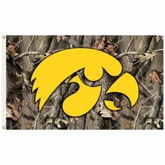 Iowa Hawkeyes 3 Ft X 5 Ft Flag WGrommets  Realtree Camo Background -- For more information, visit image link.