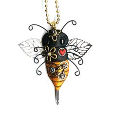 Valentines Day Steampunk Robot Heart Necklace by Freeheart1