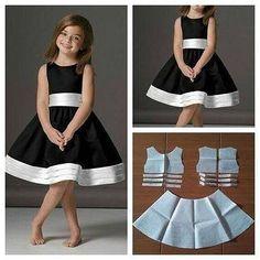 Fashion Kids, Fashion Black, Little Girl Dresses, Girls Dresses, Kids Dress Patterns, Pattern Dress, Diy Dress, Toddler Dress, Toddler Girl