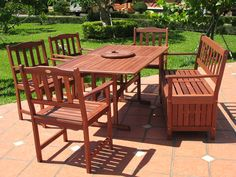 Contemporary Patio Floor Tile Feat Trendy Wooden Outdoor Dining Furniture Set Design And Lush Backyard Lawn Idea