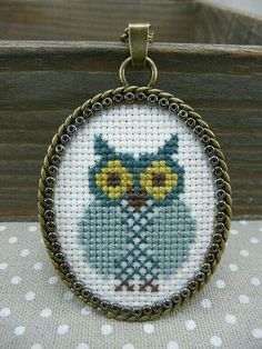 Blue Owl Cross Stitch Pendant Necklace Cross by TriccotraShop - Necklaces Jewelry Tiny Cross Stitch, Cross Stitch Borders, Cross Stitch Alphabet, Cross Stitch Animals, Cross Stitch Designs, Cross Stitching, Cross Stitch Embroidery, Embroidery Patterns, Hand Embroidery