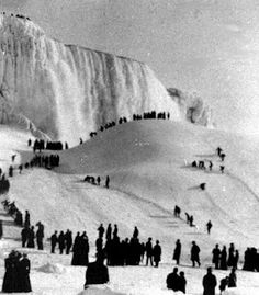frozen Niagara Falls, 1911-The mother of the person supplying this photo had a cousin living in Niagara Falls that year. She told the family that she and her neighbors woke up in the night feeling something was wrong. It took a while but they finally realized that it was the lack of noise. They had all become so used to the roar of the falls that the silence was unusual enough to alert their senses. Of course at that time nearly all the houses were near the falls.