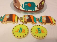Elephant themed cookies for a baby shower.