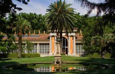 Madrid Botanical Garden (Real Jardin Botanico).  The garden is located on the banks of the Manzanares River.  The garden was started with 10,000 plants brought to Spain by Alessandro Malaspine in 1794.  It was commissioned by King Fernando VI when botanical collection was the royal hobby of the 18th century. Photo © Geoff Stearns, www.gardenvisit.com