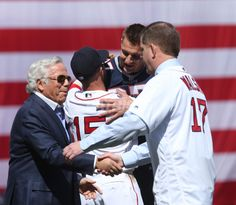 The New England Patriots were honored on the field at Fenway Park prior to the Rex Sox season opener on Monday, April Patriotic Quotes, Red Sox Baseball, Patriotic Outfit, Fenway Park, Opening Day, Boston Red Sox, Football Season, New England Patriots, Mistakes