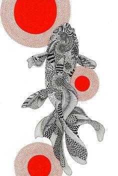 All About Art Tattoo Studio Rangiora Upstairs 5 Good Street, Rangiora 03 310 6669 or 022 125 7761 Art And Illustration, Gravure Illustration, Art Illustrations, Botanical Illustration, Koi Art, Fish Art, Koi Kunst, Tangle Art, Fish Zentangle