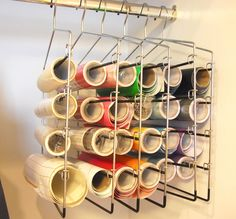 vinyl hangers using pant hangers, also use pant hangers for ribbon