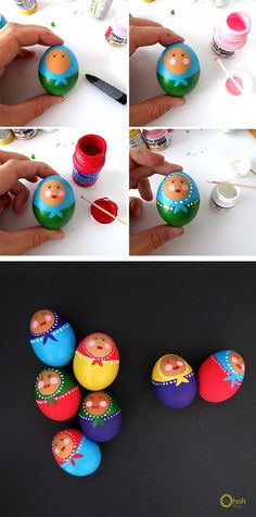 I remembered when I was a kid, my mum always decorated eggs for Easter. We had ducks and gooses in our backyard, so we picked up the eggs and dyed them in bright colors. Diy Jewelry Recycled, Ukrainian Easter Eggs, Easter Egg Crafts, Diy Ostern, Ideias Diy, Egg Designs, Diy And Crafts Sewing, Egg Art, Egg Decorating
