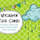 This free file includes 12 review task cards about weather map symbols, tools, and climate. A student recording sheet and answer key are included.