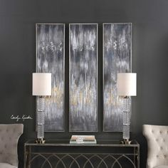 Hand painted on canvas these abstract pieces showcase a metallic silver, gold leaf, and ivory color palette. Silver leaf gallery frames complete the artwork. Due to the handcrafted nature of this artwork, each piece may have subtle differences. Designed by Carolyn Kinder International.