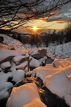 Snow Sunset, Liguria, Italy Just so perfect ^_^ such a beautiful sunset ! thank you so much ^_^ ♥