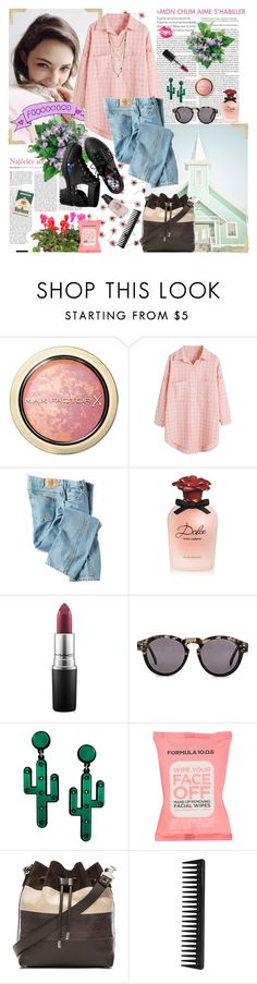"""♥"" by naam ❤ liked on Polyvore featuring Max Factor, H&M, Dickies, Dolce&Gabbana, MAC Cosmetics, Komono, Formula 10.0.6, Proenza Schouler, GHD and Bee Charming"