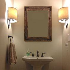 24x30 Reclaimed Wood Bathroom Mirror Rustic by HurdandHoney