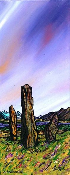 Painting & prints of The Machrie Moor Standing Stones, Isle of Arran, Ayrshire, Scotland - Andy Peutherer