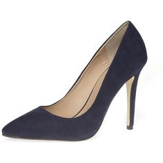 Dorothy Perkins Navy high pointed court shoes ($39) ❤ liked on Polyvore