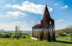 "littlelimpstiff14u2: "" See Through, Transparent Church in Borgloon, Belgium The architect group, Gijs Van Vaerenbergh, built this church in Borgloon, Belgium. It doesn't look like anything special…..."