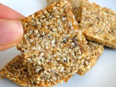 3 ingredient sesame bars: 1/4 cup sesame seeds + 2 dried figs + 1 egg white