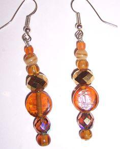 Handmade Amber Glass Bead Earrings Dangle Earthy Hippie Boho Chic UPCYCLED NEW