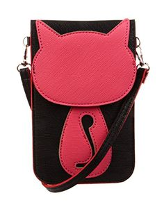 KISS GOLD(TM) Fresh Color Super Cute 3D Animal Pattern Mini Shoulder Bag Cellphone Pouch (Black-Cat)