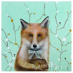 Red Fox in Art - Acrylic Painting Print - Animal Art, Red Fox, Woodland Creature - School Dorm Room - Women Kids Teens gift under 20 via Etsy