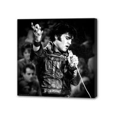 Elvis Small Stretched Canvas - Show your love for The King with this cool Elvis Small Stretched Canvas art featuring a picture of Elvis Presley. This stretched Elvis canvas wall art measures approximately 6 x 1 x 6 and has saw tooth hangers on the back for hanging.