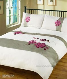 This duvet cover set has been designed to create that elegant and compelling look Carefully created in a fine soft polyester fabric Rich Colourways Bed Cover Design, Bed Design, Bed Covers, Duvet Cover Sets, Bed Sheet Painting Design, Diy Embroidery Designs, Fabric Paint Designs, Bed Curtains, Bedroom Wall