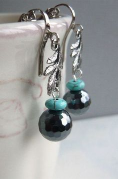 Silver Leaves Hematite and Turquoise Earrings