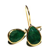 toosis Emerald Green Drop Geometric Sterling Silver Earrings With Enamel a5Kb9qHDzv