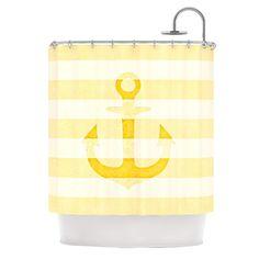 "Monika Strigel ""Stone Vintage Anchor Yellow"" Mustard White Shower Curtain"