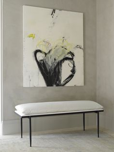 Abstract wall art | upholstered white cotton bench | modern contemporary style | foyer decor ideas