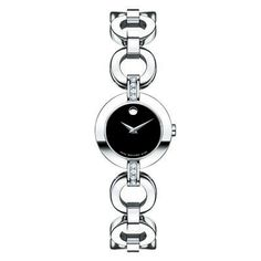 Ladies' Movado Bela Moda Stainless Steel Bangle Watch with Diamond Accents
