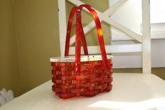 Vintage Lucite Amber Colored Basket Purse