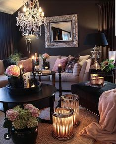 Recent living room paint ideas grey sofa only in zelta home design 2020 Living Room Design Ideas Glam Living Room, Living Room Goals, Living Room Decor Cozy, Living Room Interior, Home And Living, Romantic Living Room, Black Living Rooms, Black Living Room Furniture, Ikea Interior