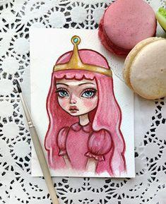 What time is it? #princessbubblegum #illustration #postcard #etsy #artstagram #watercolorart