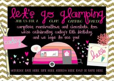 Let's Go Glamping Birthday Party 5X7 Invite by ForSuchTime on Etsy, $12.00