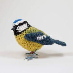 This friendly little blue tit is handmade from British Shetland wool. Crochet Bird Patterns, Animal Knitting Patterns, Crochet Birds, Stuffed Animal Patterns, Crochet Motif, Crochet Flowers, Hand Crochet, Crochet Toys, Shetland Wool