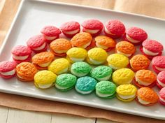 Mini Rainbow Whoopie Pies from Betty Crocker - Itty-bitty whoopie pie bites in playful colors are doubly delicious with this sweet filling!