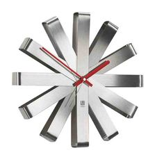 UMBRA RIBBON WALL CLOCK STEEL Elevate the design of your home by accenting an empty wall with the Ribbon Wall clock. More than just a time piece, this bent steel wall clock with red painted hands can also function as wall decor. Quartz clock movement a Modern Wall, Modern Contemporary, Contemporary Clocks, Ribbon Wall, Grey Ribbon, Wall Clock Silent, Metal Design, Quartz Clock Movements, Wall Art