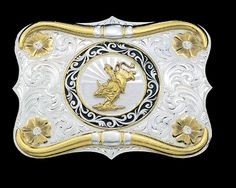 An actual western buckle from Montana Silversmith. Buckles are often awarded as trophies in rodeo competitions.